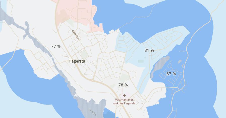 Karta över vaccintäcning i Fagersta